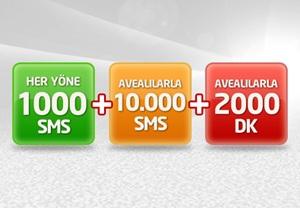Her Yöne 5.000 SMS ve 500 MB cepten internet ayda sadece 15 TL!